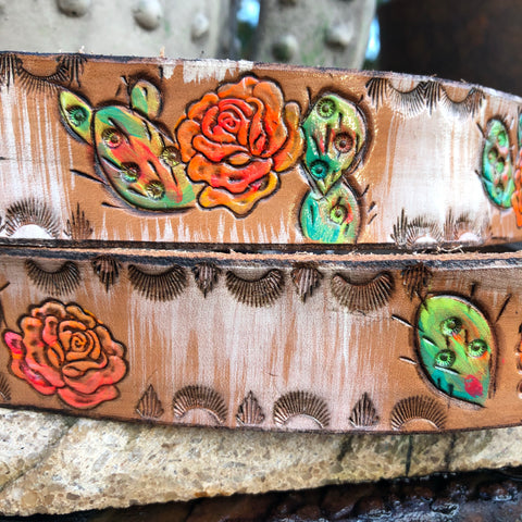 Tooled Cactus Belt