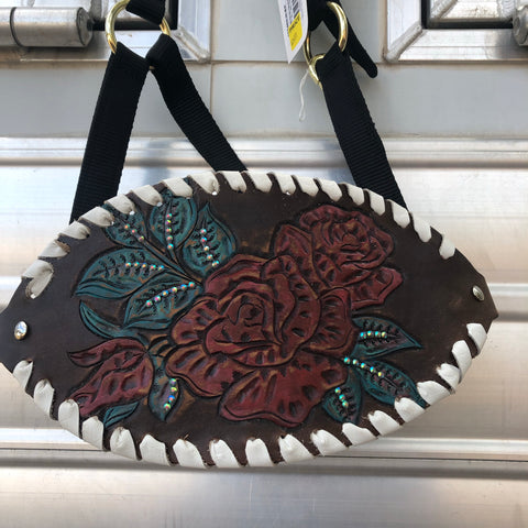 Hand painted  and tooled red rose Bronc halter