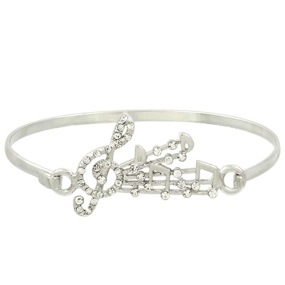 Shine On Musical Note Bangle in Silver