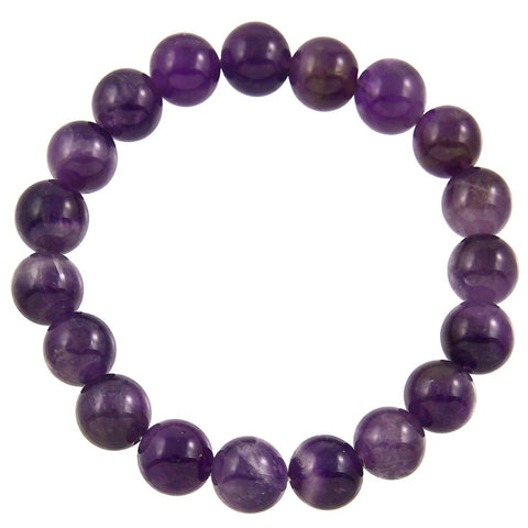 Natural Stone Stretch Bracelet in Amethyst