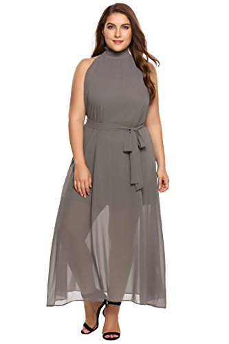 Zeagoo Womens Plus Size Chiffon Sleeveless Maxi Formal Dresses Solid Belted  Party Dress Grey 18 Plus