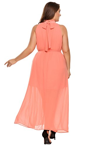 26225c2533 ... Zeagoo Womens Plus Size Chiffon Sleeveless Maxi Formal Dresses Solid  Belted Party Dress Pink 18 Plus ...