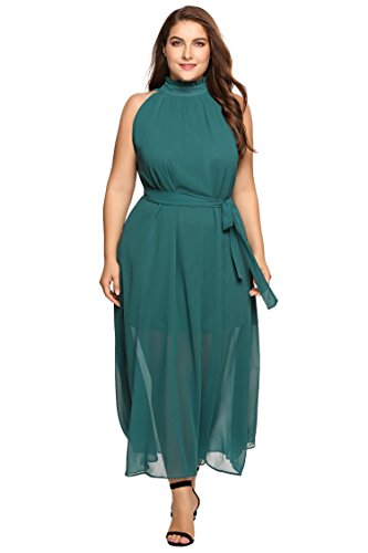 Zeagoo Womens Plus Size Chiffon Sleeveless Maxi Formal Dresses Solid Belted  Party Dress Green 18 Plus