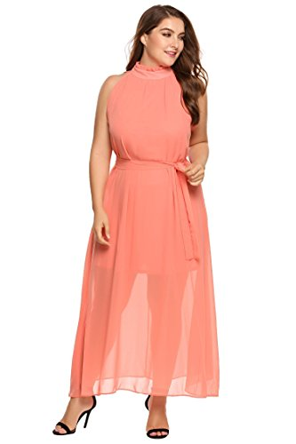 422cd378351 ... Zeagoo Womens Plus Size Chiffon Sleeveless Maxi Formal Dresses Solid  Belted Party Dress Pink 18 Plus ...