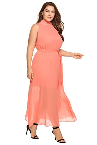 Zeagoo Womens Plus Size Chiffon Sleeveless Maxi Formal Dresses Solid Belted  Party Dress Pink 18 Plus