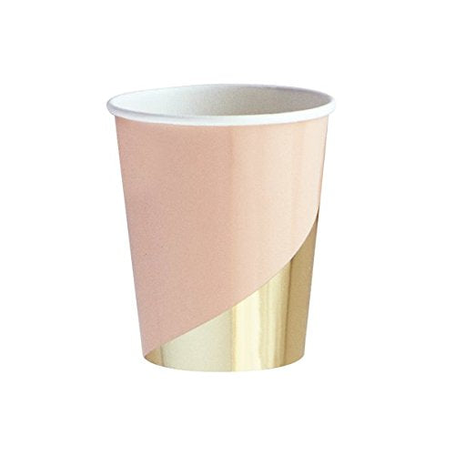 Goddess Blush Colorblock Modern Party Paper Cups - Gold Foil Decor (Set of 8) - by Harlow & Grey