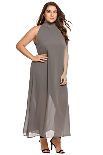 Zeagoo Womens Plus Size Chiffon Sleeveless Maxi Formal Dresses Solid Belted Party Dress Grey 18 Plus- ShopLuLu.com , New York's Fashion District - NYC - Wholesale Fashion Jewelry
