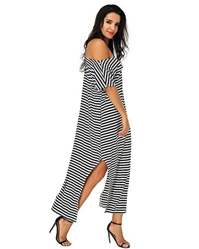 ZANZEA Women One Off Shoulder Maxi Dress Short Sleeve Split Stripe Kaftan Dress Stripe 3XL- ShopLuLu.com , New York's Fashion District - NYC - Wholesale Fashion Jewelry
