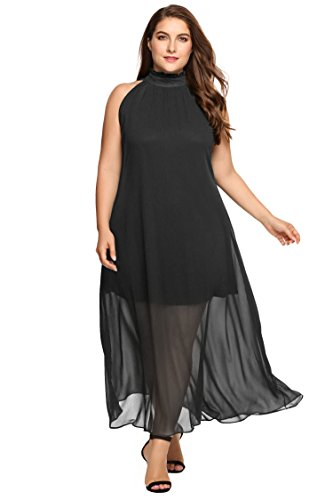 Zeagoo Womens Plus Size Chiffon Sleeveless Maxi Formal Dresses Solid Belted Party Dress- ShopLuLu.com , New York's Fashion District - NYC - Wholesale Fashion Jewelry