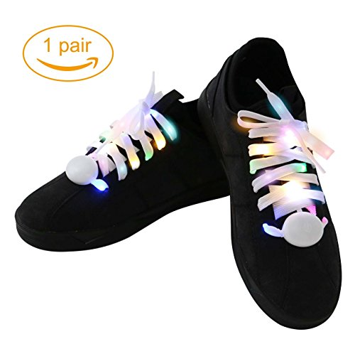 LED Shoelaces Nylon Waterproof Light Up Shoelaces with 3 Modes 5 Colors Disco Flash Lighting the Night for Running Party Hip-hop Dancing Cycling Hiking Skating Cosplay(RGB Colorful)