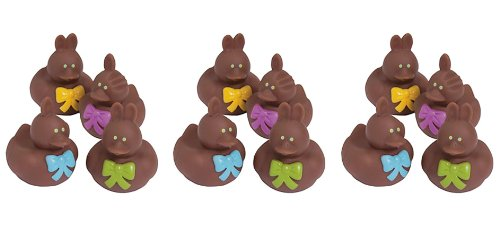 Vinyl Chocolate Easter Bunny Rubber Duckies, 12-Piece (Dozen)- ShopLuLu.com , New York's Fashion District - NYC - Wholesale Fashion Jewelry