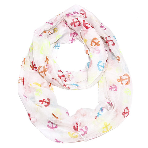 Cozy by LuLu - Anchor Confetti Infinity Scarf White
