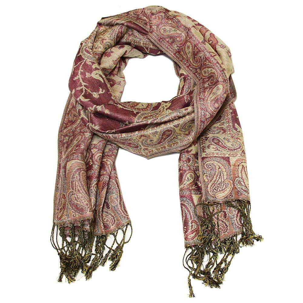 Elegant and Intricate Paisley Pashmina Wrap Muddled Wine