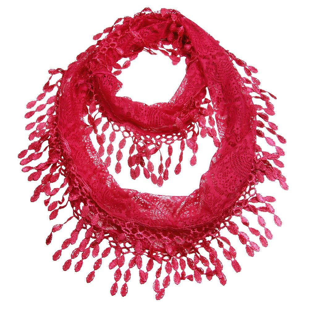 Cozy by LuLu - Raspberry Lace Infinity Scarf
