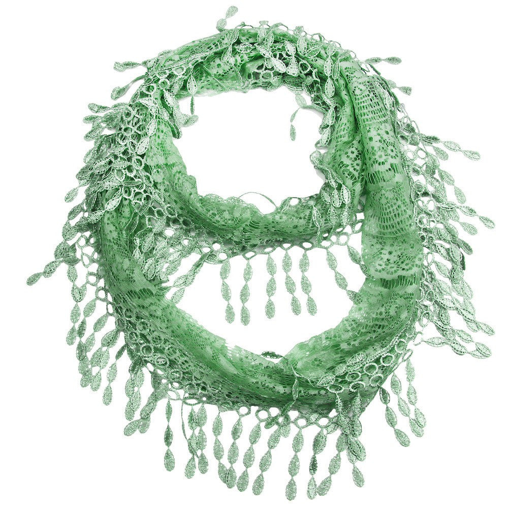 Cool Mint Green Lace Infinity Scarf