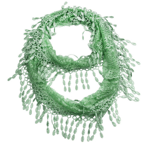 Cozy by LuLu - Cool Mint Green Lace Infinity Scarf
