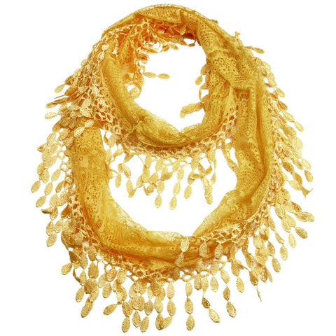 Golden Yellow Lace Infinity Scarf with Eyelet Trim