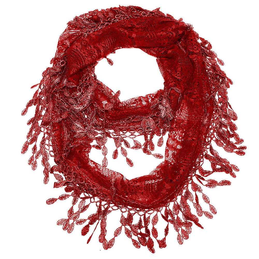 Superb Crimson Lace Infinity Scarf With Eyelet TrimScarf   Shop LuLu ...
