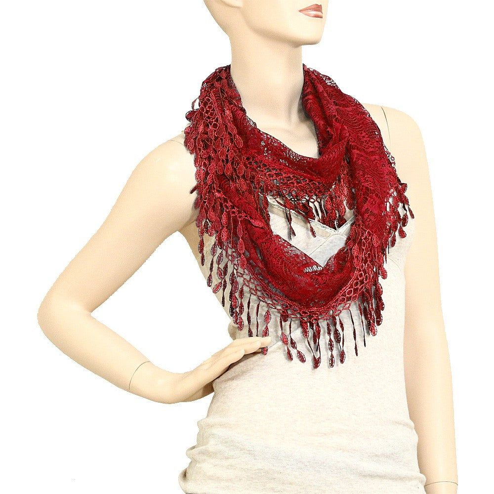 Crimson Lace Infinity Scarf with Eyelet Trim- ShopLuLu.com , New York's Fashion District - NYC - Factory Direct. Basic As it Should Be