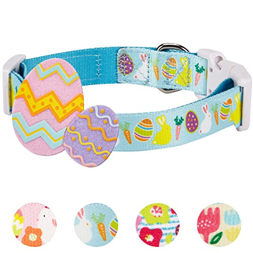 "Blueberry Pet 4 Patterns Easter Spring Bunny and Egg Designer Dog Collar in Sky Blue, Small, Neck 12""-16"", Adjustable Collars for Puppy Dogs"