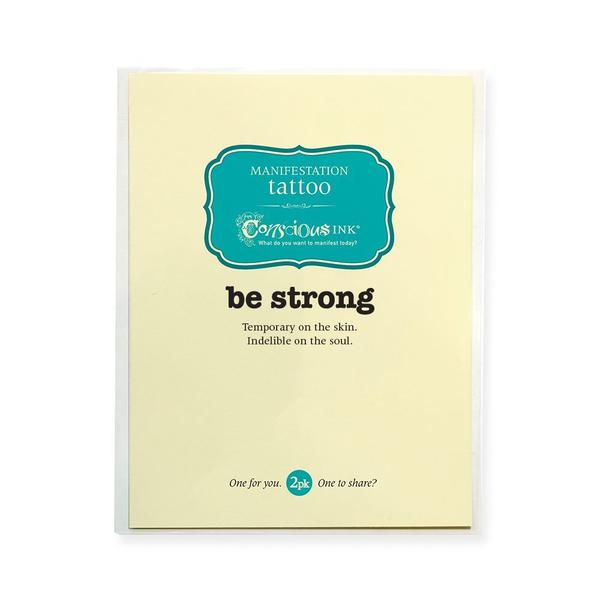 Be Strong Temporary Tattoo- ShopLuLu.com , New York's Fashion District - NYC - Factory Direct. Basic As it Should Be
