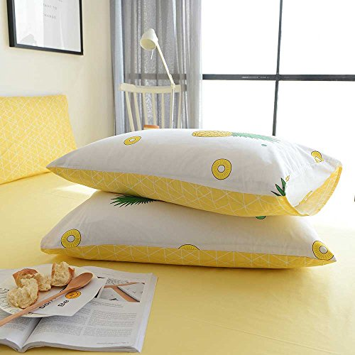 BuLuTu Pineapple Pattern 3 Pieces Cotton Bedding Sets Twin Cream/Off White Super Soft Kids Duvet Cover Sets For Boys Girls,Love Gifts for Her,Him,Sister,Teens,Daughter,Child,Friend,Family,NO COMFORTER- ShopLuLu.com , New York's Fashion District - NYC - Factory Direct. Basic As it Should Be