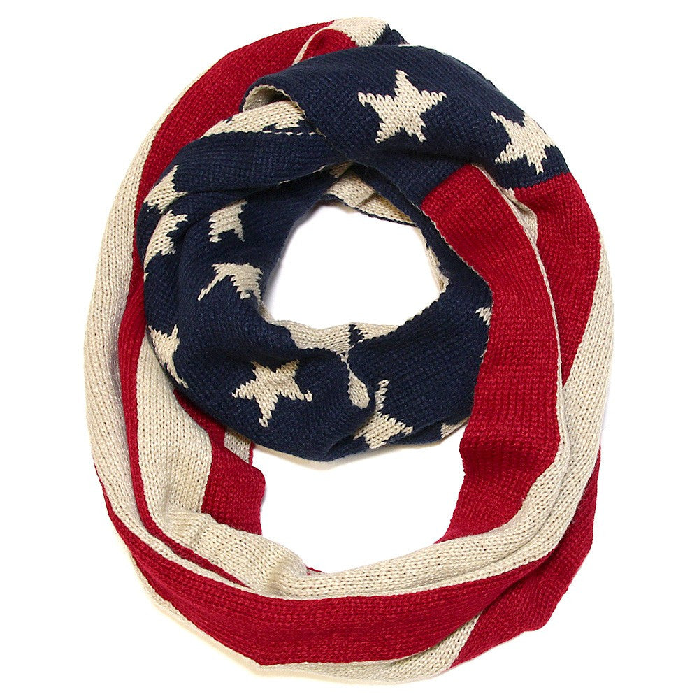 American Flag Heavy Knit Infinity Scarf