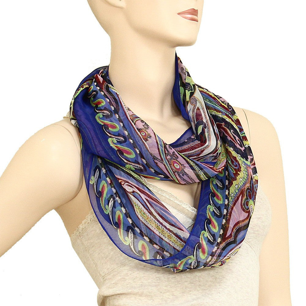 Silk Feel Dream Infinity Scarf  - Cobalt Blue- ShopLuLu.com , New York's Fashion District - NYC - Wholesale Fashion Jewelry