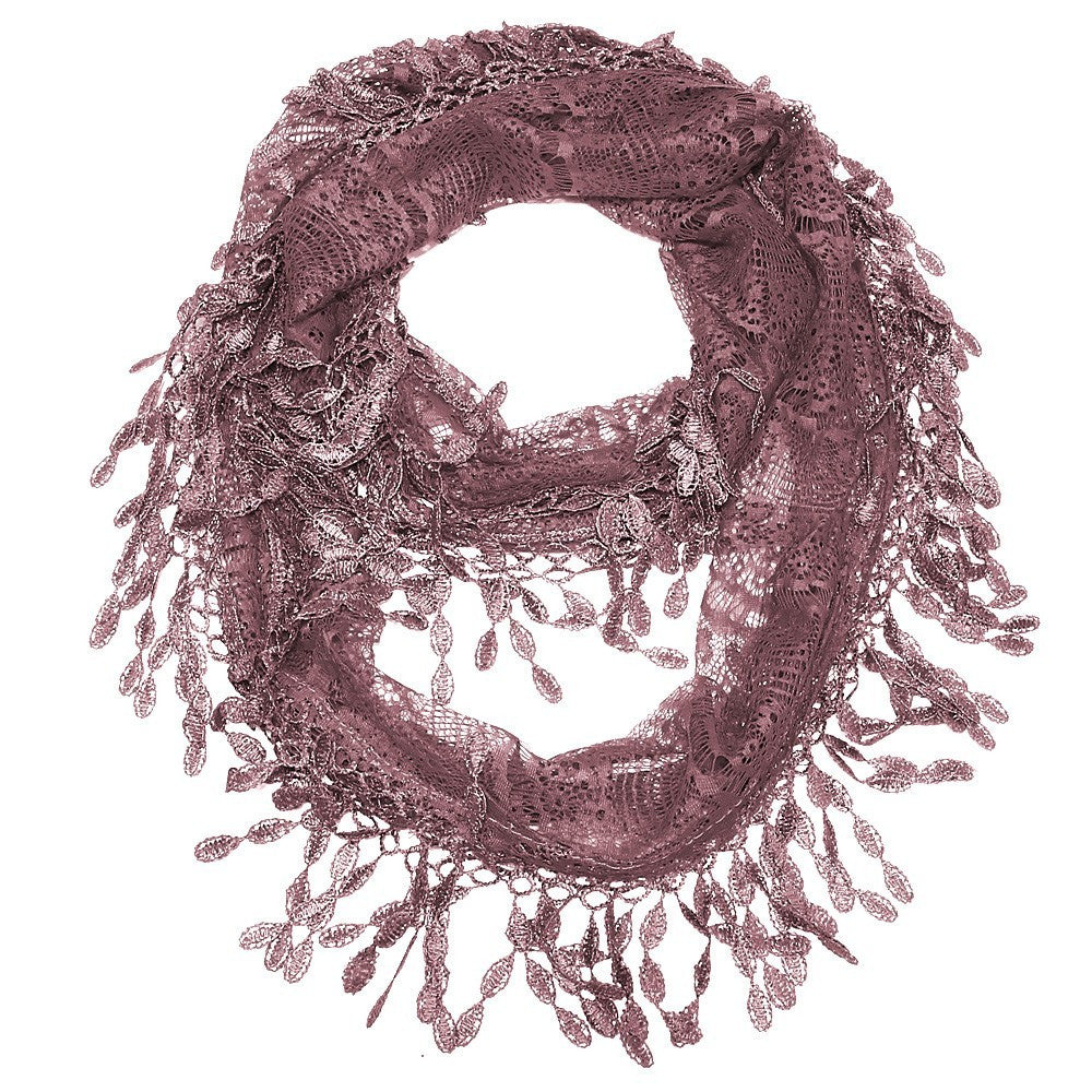 Rosewood Lace Infinity Scarf