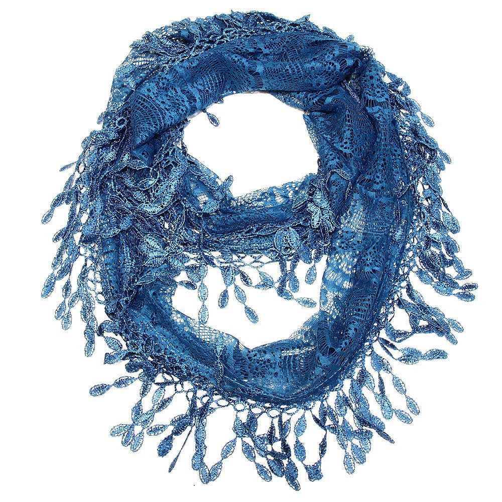 Peacock Blue Lace Infinity Scarf- ShopLuLu.com , New York's Fashion District - NYC - Wholesale Fashion Jewelry