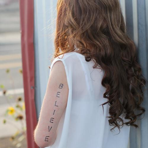 Believe Oversized Temporary Tattoo- ShopLuLu.com , New York's Fashion District - NYC - Factory Direct. Basic As it Should Be