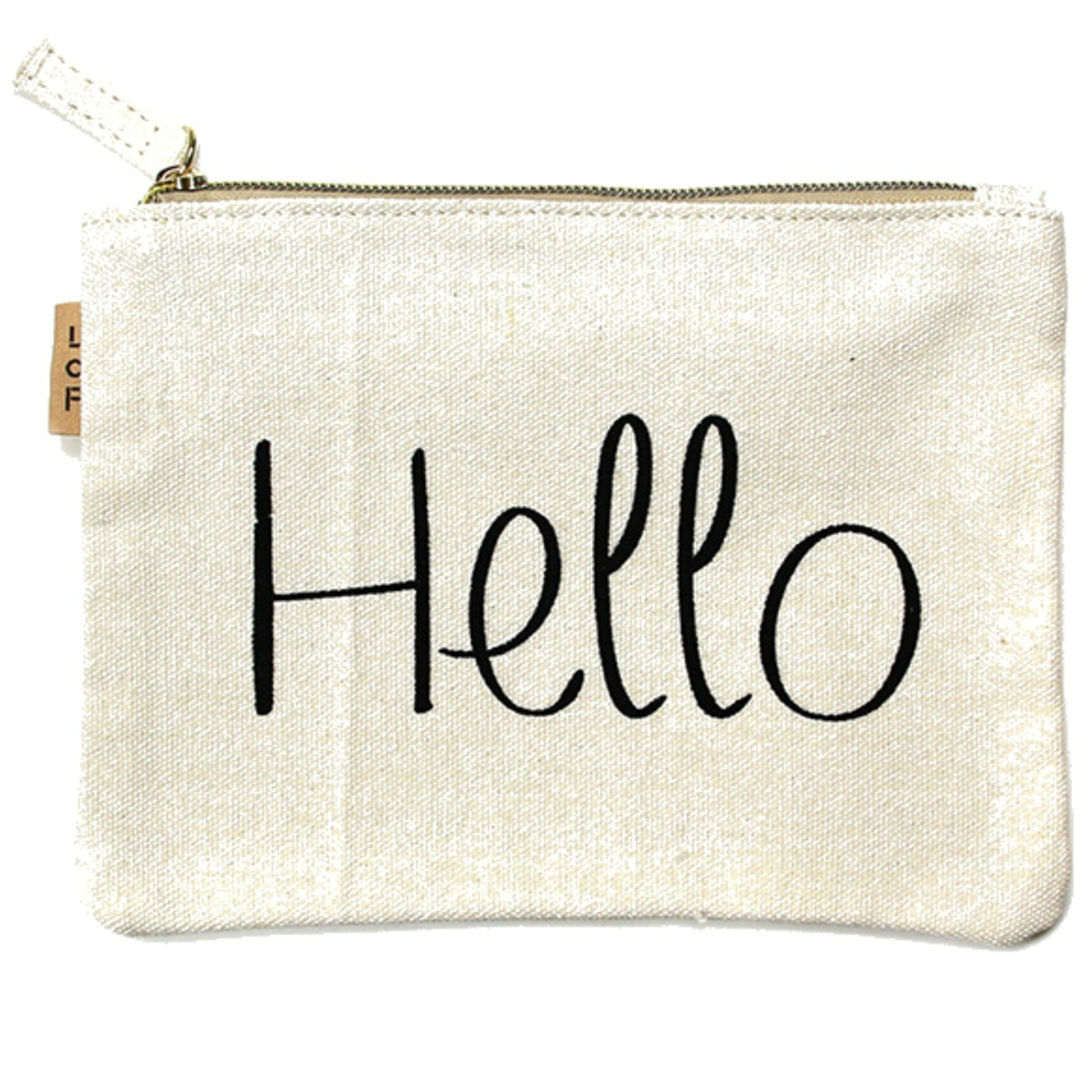 Hello Canvas Eco Pouch- ShopLuLu.com , New York's Fashion District - NYC - Factory Direct. Basic As it Should Be