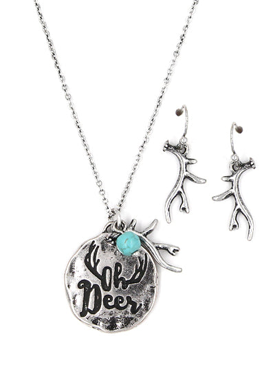 Oh Deer Message Disc Necklace- ShopLuLu.com , New York's Fashion District - NYC - Wholesale Fashion Jewelry
