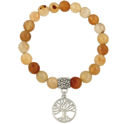 Tree of Life Beaded Bracelet in Apricot Agate