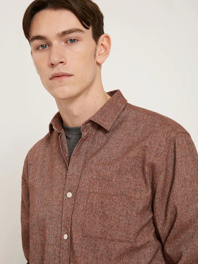 frank & oak - marled cotton shirt in mahogany