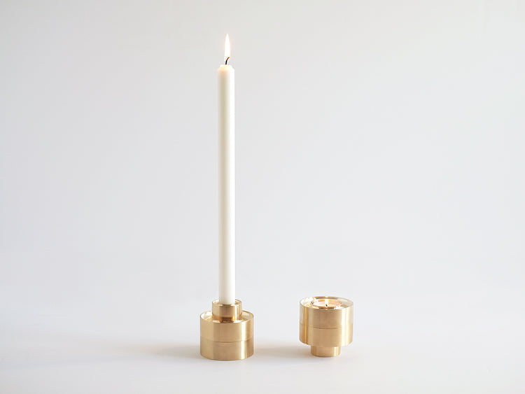 fs objects - brass stacking candle holder