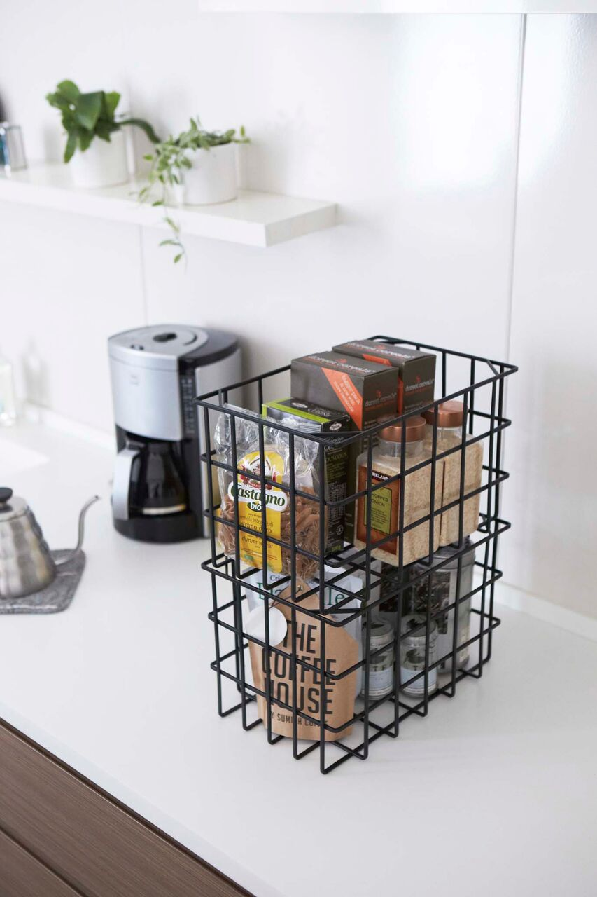 Yamazaki Home - Tower Stackable Storage Basket Black