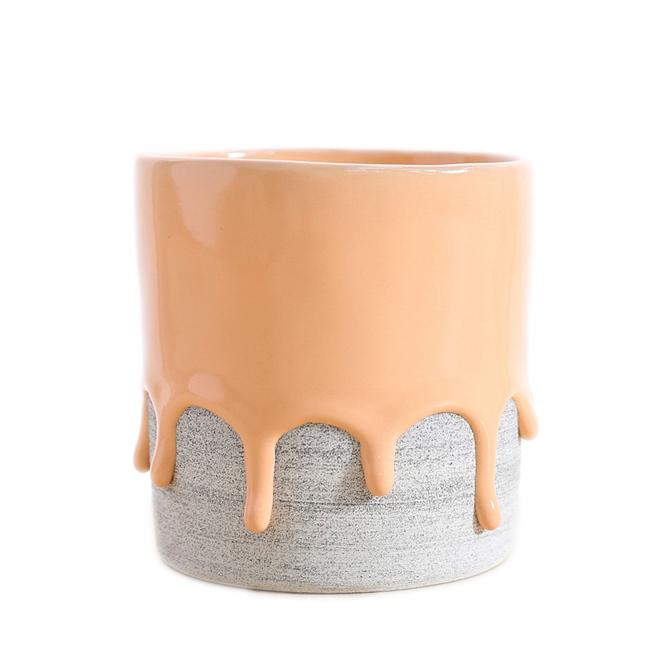 drippy pots - planter, tall creamsicle / ash