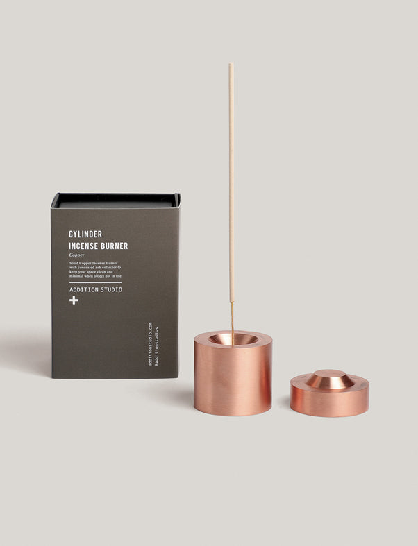 addition studio - cylinder incense burner copper