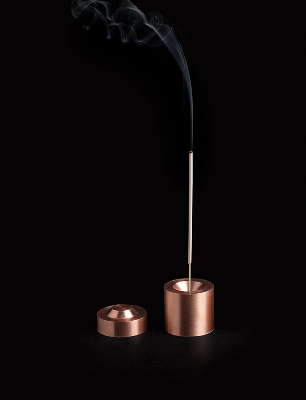 addition studios - cylinder incense burner copper