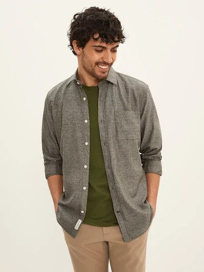 frank & oak - marled cotton shirt