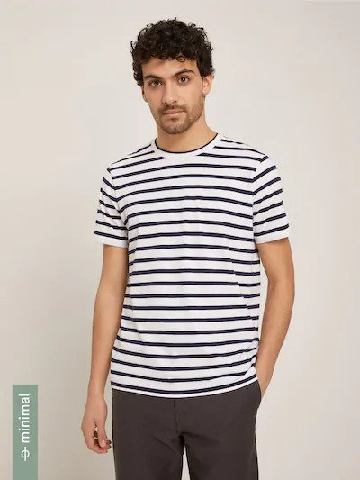 frank & oak - striped slim tee in perfect indigo