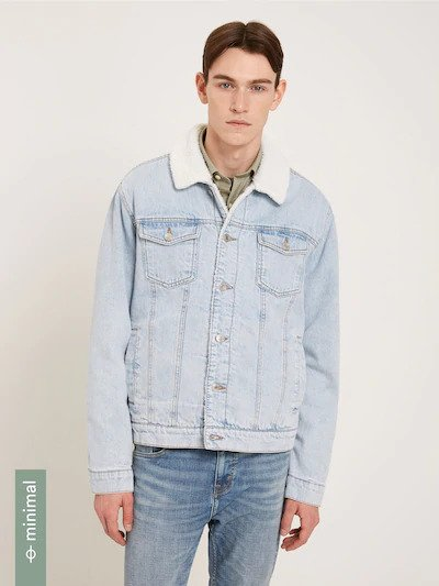 frank & oak - rufus denim jacket with sherpa lining
