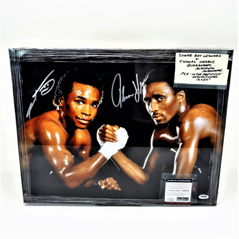 Icons of Boxing Sugar Ray Leonard & Thomas Hearns Signed Photograph With Certificate of Authenticity