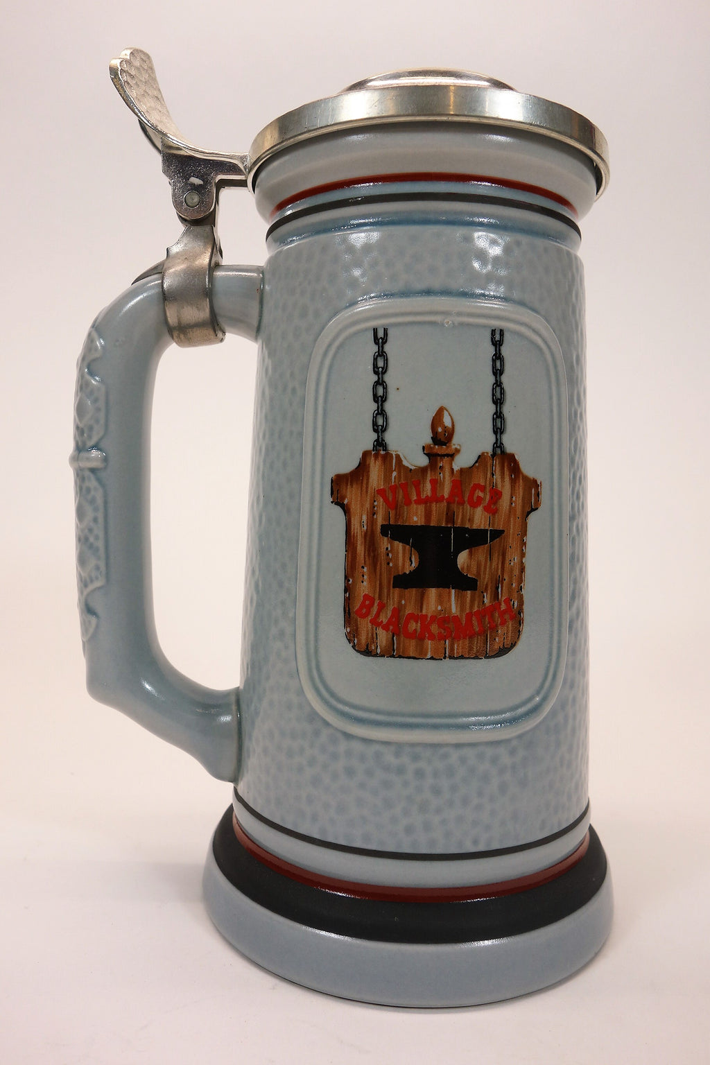 """The Blacksmith"" Lidded Beer Stein 1986 Avon Designer Uldis Klavins"