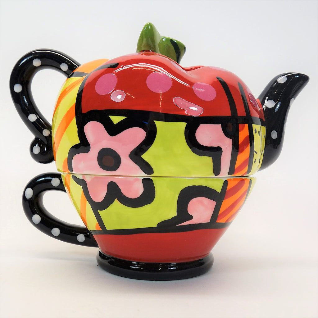 Britto Romero Britto 2009 Giftcraft Tea For One Apple-Shaped Tea Set