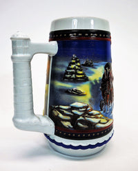 Right side view of holiday Budweiser beer stein night winter scene snowy trees and rocks