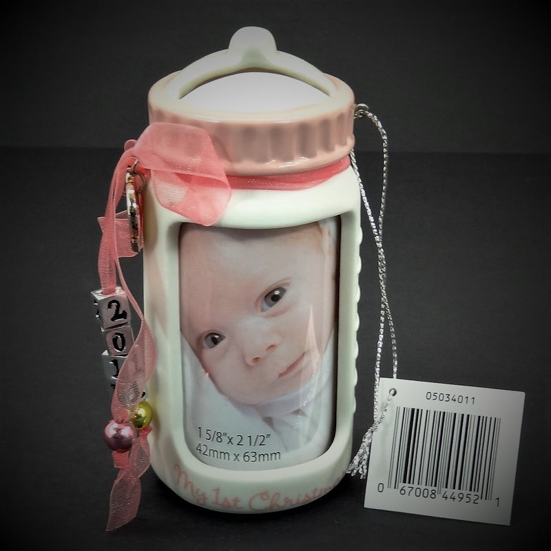 "Heirloom Ornament Collection ""Baby Girl's First Christmas Frame"" Christmas Tree Ornament"