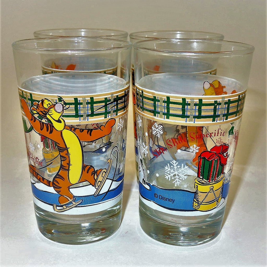 "Disney Tigger ""Slip, Slide, Superific"" Christmas Glasses Set of 4"