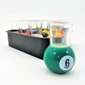 Pool Ball Shot Glasses in Rack